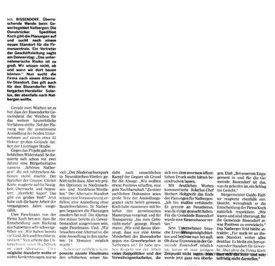 Bericht der Neuen Osnabrücker Zeitung vom 12. März 2010