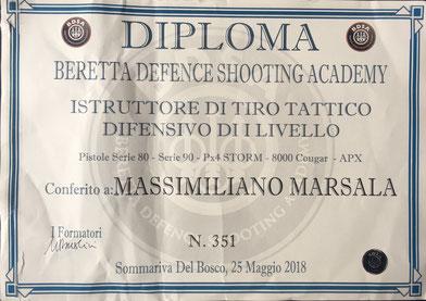 Istruttore BDSA di tiro tattico difensivo massimiliano marsala