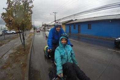 Sous le pluie à vélo