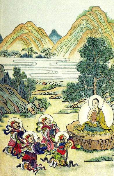 Les quatre rois du ciel offrent un bol à Bouddha.