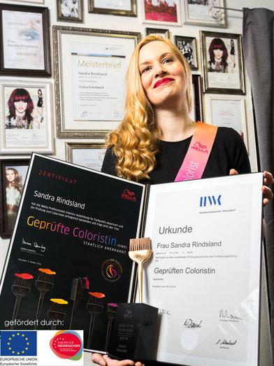 Friseurmeisterin Sandra Rindsland Auszeichnung staatlich geprüfte Coloristin EU