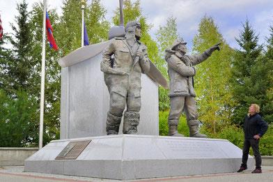 Denkmal für die Alaska Sibirien Flugroute des Lend-Lease Act. 1942-1945