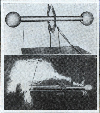 Top photo shows the famous Tesla coil, used to transmit early radio signals. Below, the coil in actual operation.