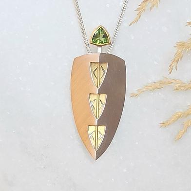 Schmuckanhänger Silber Gold lang mit Olivin