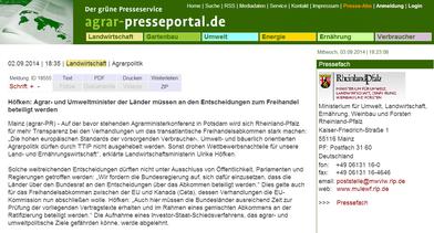 02.09.2014 PRESSEMITTEILUNG - Ministerium für Umwelt, Landwirtschaft, Ernährung, Weinbau und Forsten Rheinland-Pfalz