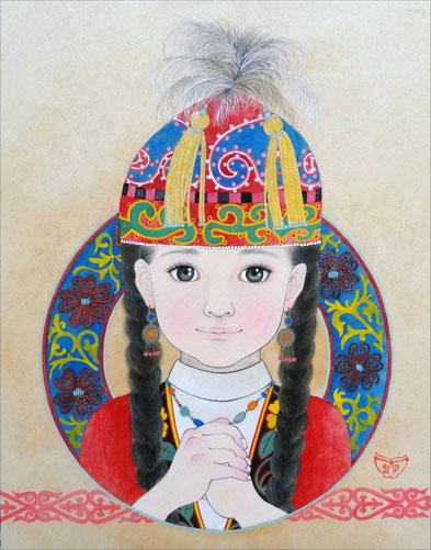 「カザフスタンの瞳」 紙本岩彩 F6