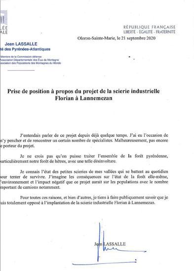 """Lettre de soutien au collectif """"Touche pas à ma Forêt 64"""" d'Oloron contre le projet de scierie géante Florian de Lannemezan"""