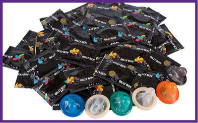 Kondome, Verhütung, Durex, Pasante, Billy Boy, Blausiegel,