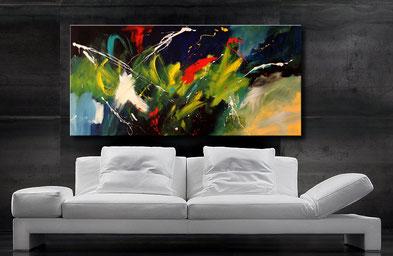 """Acrylbild """"Szenario-A"""", 140 x 70 cm, schöne Farbgebung in Blau, Türkis, Gelb, Rot und Schwarz"""