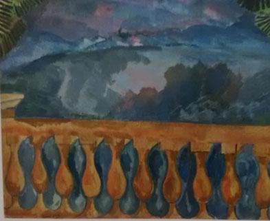 Raoul Dufy.La Terrase en LÉstaque.Óleo sobre lienzo,60x73cm.Musée Cantini, Marsella.