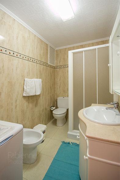 Bad mit Dusche, Waschtisch, WC, Bidet und Waschmaschine
