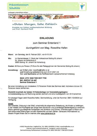 """Seminar """"Entenland 1"""" an der Volksschule St. Johann ob Hohenburg. Organisiert über den Verein Schultüte."""