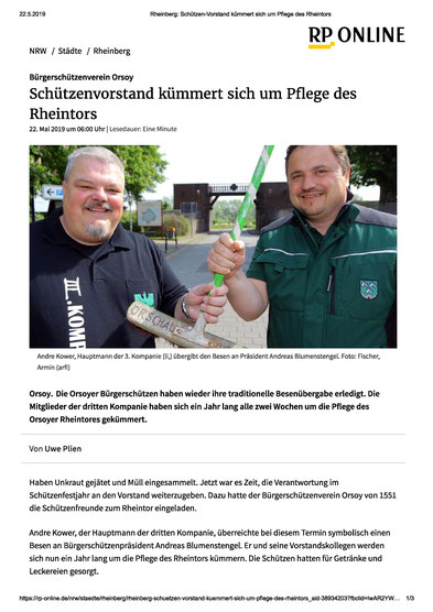 Rheintor, Besen Übergabe, Ehrenamtes Rheintorpflege, III. Kompanie, Vorstand, BSV Orsoy, Bürgerschützenverein Orsoy