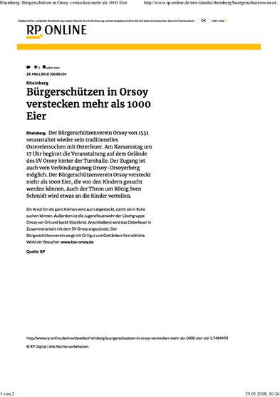 BÜRGERSCHÜTZEN IN ORSOY VERSTECKEN MEHR ALS 1000 EIER