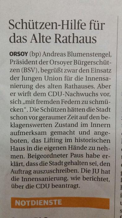 Schützen Hilfe für das Alte Rathaus Orsoy