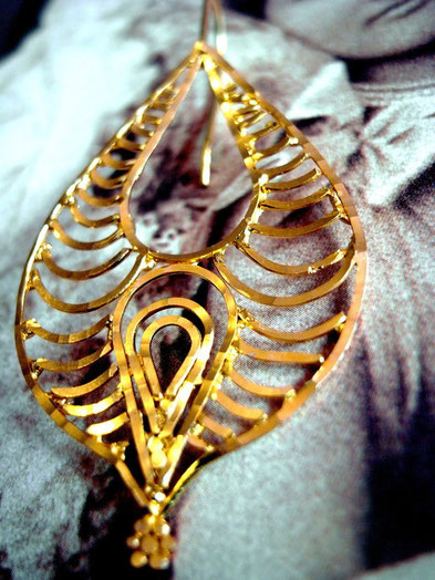 Jaimini earrings: art-deco-style, 24kt, gold-dipped, sterling-silver; close-up of filigree