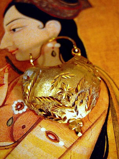Kalyani earrings: joined, 24kt, gold-dipped, sterling-silver shells, etched and-stippled both sides, high-polish and matte areas