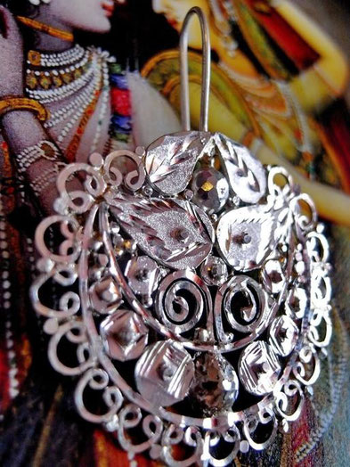 Radha earrings: semi-polish, sterling-silver, filigree-swirls, solid-fill, faceted-points-&-balls, cut-work & etching