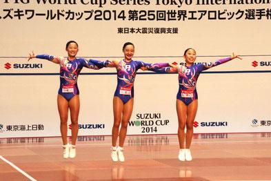AG2トリオ優勝の(左から)萩本、小俣、北爪