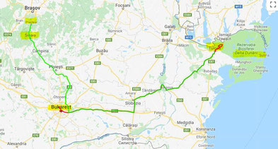 Tulcea-Bukarest-Sinaia (Strecke 430 km!)