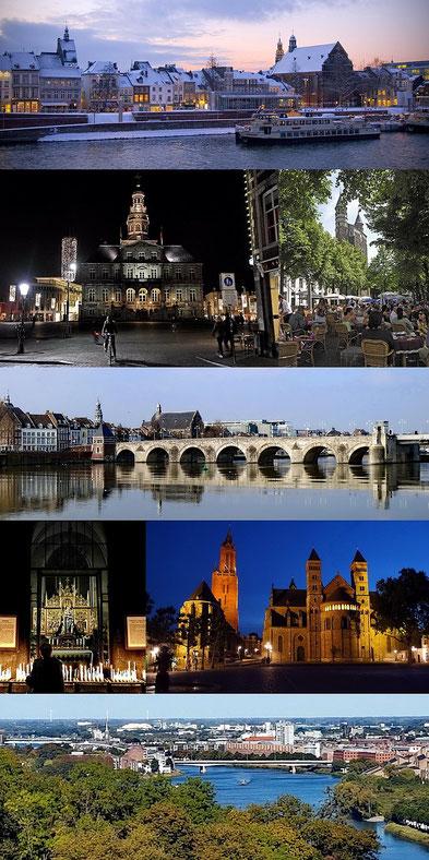 """Die Maas im Winter · Rathaus am Abend · Onze Lieve Vrouweplein · St. Servatiusbrücke · Kapelle der """"Sterne des Meeres"""" · St. Johann und St. Servatius am Vrijthof-Platz · Blick vom St. Pietersberg"""