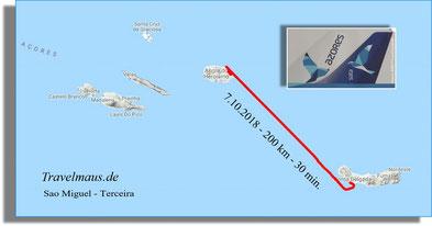Flug von Sao Miguel nach Terceira