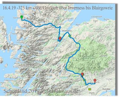 325 km - von Gairloch über Inverness bis Blairgowrie