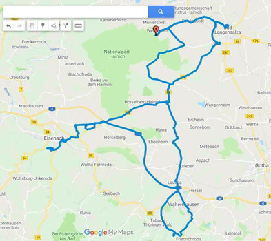 17.9.2019- ca.150 km Tagesstrecke, Bad Langensalza- Eisenach- Friedrichroda-Bad Langensalsza