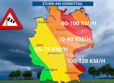 Wetterkarte 30.9.2019 Sturmtief Mortimer
