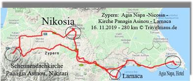 16.11.2019 : Tagesstrecke 280 km auf Zypern