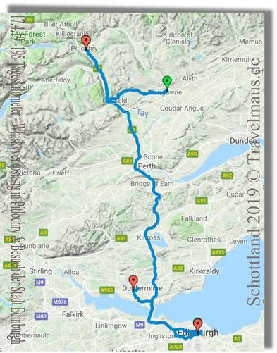 195 Tageskilometer - Whiskyverkostung in  Pitlochry & Besuch der Stadt Edinburgh