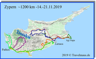 Unsere Tagesrouten auf Zypern
