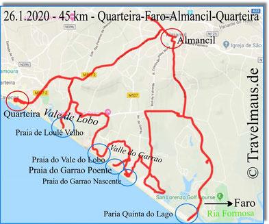 Tagesstrecke 45 km zwischen Quarteira und Faro