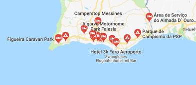 Algarve-Stellplätze- klick an für Googlekarte.