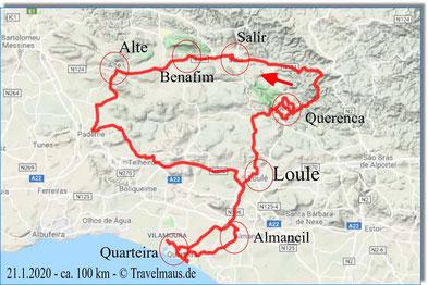 21.1.2020 Tagesstrecke ca. 100 km