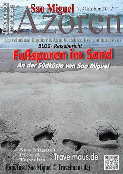 Anni's Fußspuren im Sand.