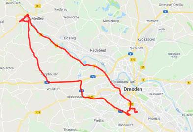 Dresden - Meißen und zurück- Tagesstrecke 70 km