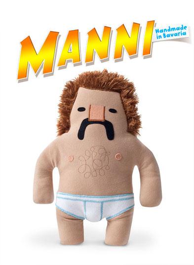 Designer Toy Plüschfigur Manni mit Schnauzbart und Feinrippunterhose von Frank Schulz