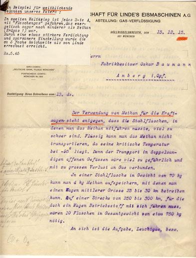 1915 Antwort von Linde zum Thema Methan für Kraftfahrzeuge