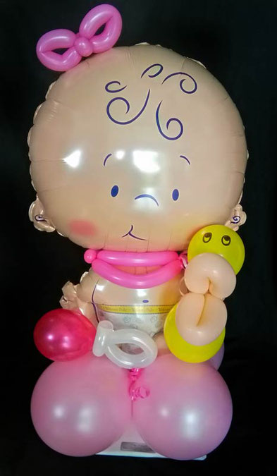 Ballondeko Taufe Baby boy Baby girl Junge  Mädchen Baby-Shower Babyparty Party Geburt Luftballon Ballon Deko Dekoration Hingucker Eyecatcher exklusiv besondere Mitbringsel Versand Geschenk Ente Rassel blau rosa pink