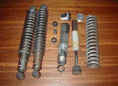 Despiece de un amortiguador Telesco muy usado en Ducati