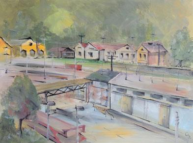 Galambos Rita - Bahnhof in Feldkirch Rita Galambos freischaffende Künstlerin Malerin Designerin Painter Designer Artist Vorarlberg Malerei