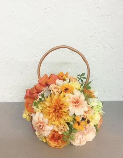秋色ダリアのbag bouquet
