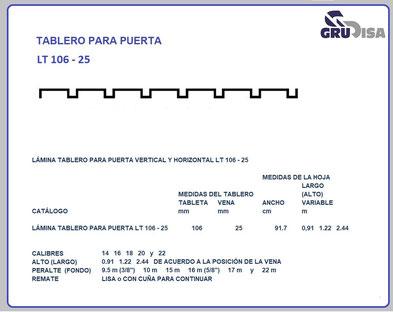 TABLERO PARA PUERTA LT 106 - 25