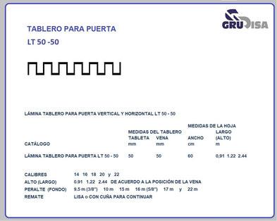 TABLERO PARA PUERTA LT 50 - 50