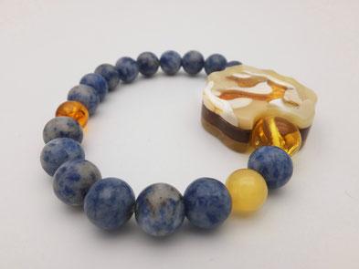 amber, sodalite, wood