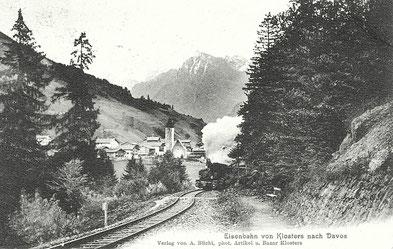 Verlag von A. Büchi, phot. Artikel und Bazar Klosters, gestempelt 13. September 1910