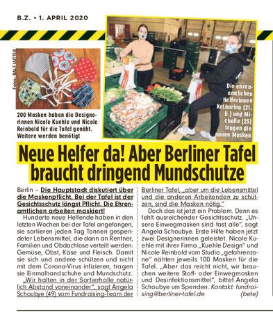 100 Masken für die Berliner Tafel. Artikel BZ. Gute Tat.