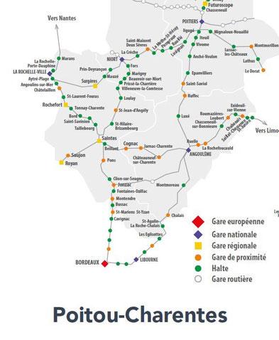 Carte du Réseau POITOU-CHARENTES