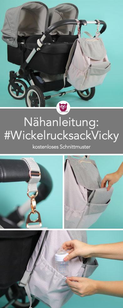 [Werbung] 2-in-1 Wickelrucksack Vicky Nähanleitung mit kostenlosem Schnittmuster: Nähanleitung für #WickelrucksackVicky mit integrierter Wickelunterlage. Die Wickeltasche hat viele Fächer für viel Babyzubehör. Nähen für Babys mit DIY Eule.